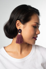 Talee Aru Tassel Loops in Berry & Orchid, handmade jewellery available on ZERRIN