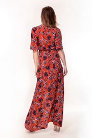 Hide the Label Rosa Wrap Maxi Dress in Peach Floral Print, available on ZERRIN