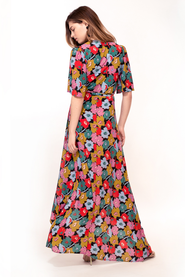 Hide the Label Rosa Wrap Maxi Dress in Cut Out Floral Print, available at ZERRIN