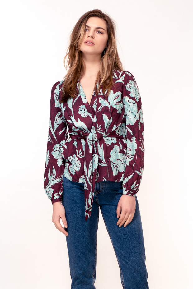 Hide the Label Nyssa Tie Front Top in Purple Snake Print, available at ZERRIN