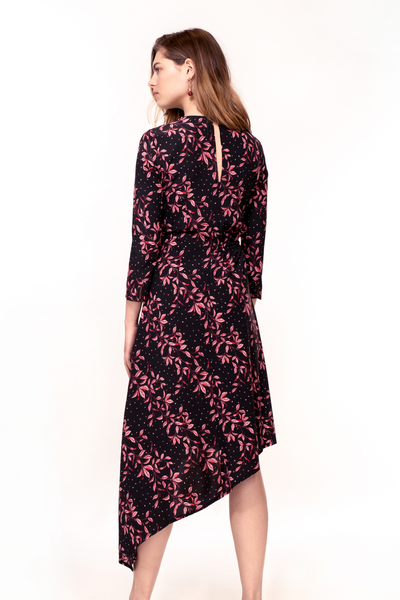 Hide the Label Azalea Dress in Pink Leaf Print, available on ZERRIN