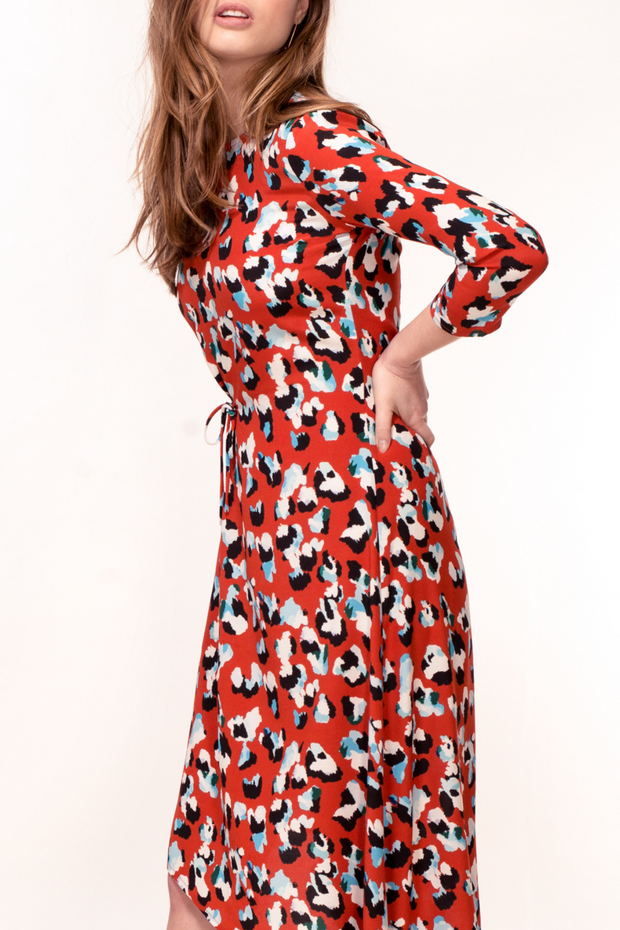 Hide the Label Azalea Dress in Red Animal Print, available on ZERRIN