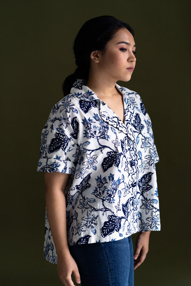 Gypsied Batik Cocoon Shirt in Puspa II, available on ZERRIN with free Singapore shipping