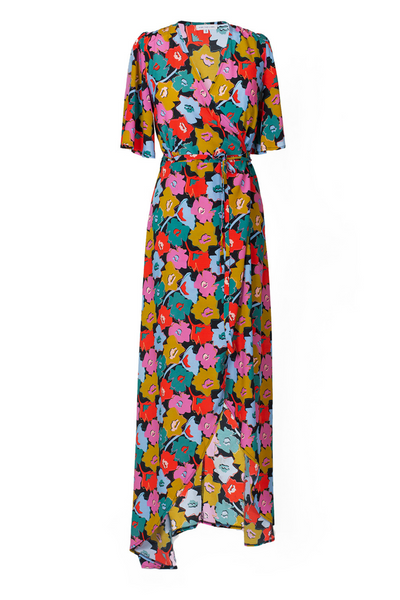 Hide the Label Rosa Wrap Maxi Dress in Cut Out Floral Print