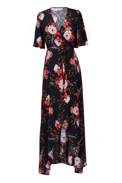 Hide the Label Rosa Wrap Maxi Dress in Peach Floral Print