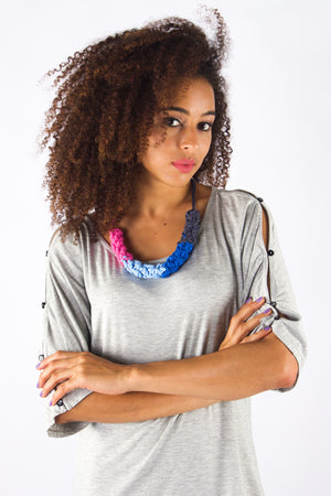 Taikensonzai upcycled jersey yarn Zahara necklace, exclusively on ZERRIN