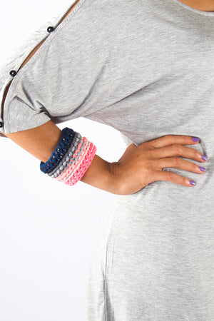 Taikensonzai upcycled yarn Zephyr cuff, available exclusively on ZERRIN