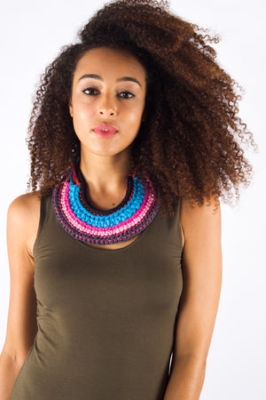 Taikensonzai upcycled yarn Zedelle necklace, available exclusively on ZERRIN