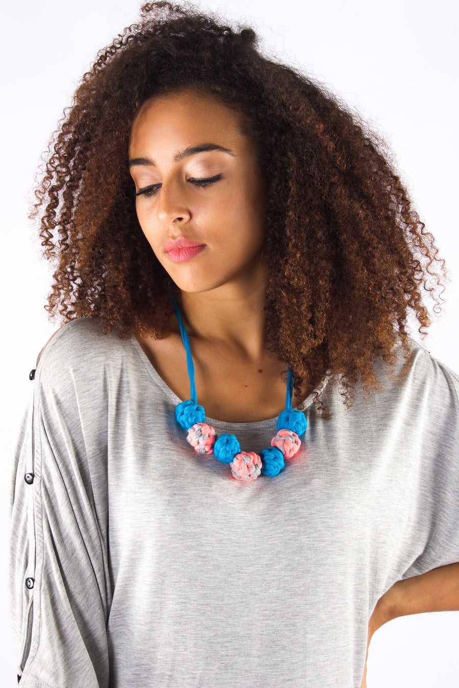 Taikensonzai Zafira Necklace made from upcycled textile offcuts, available exclusively on ZERRIN
