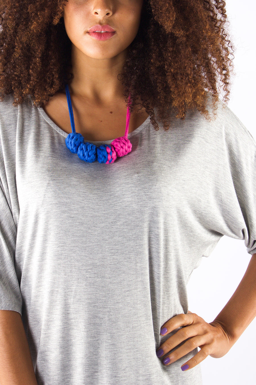 Taikensonzai Zadie necklace made from textile mill offcuts, available exclusively on ZERRIN