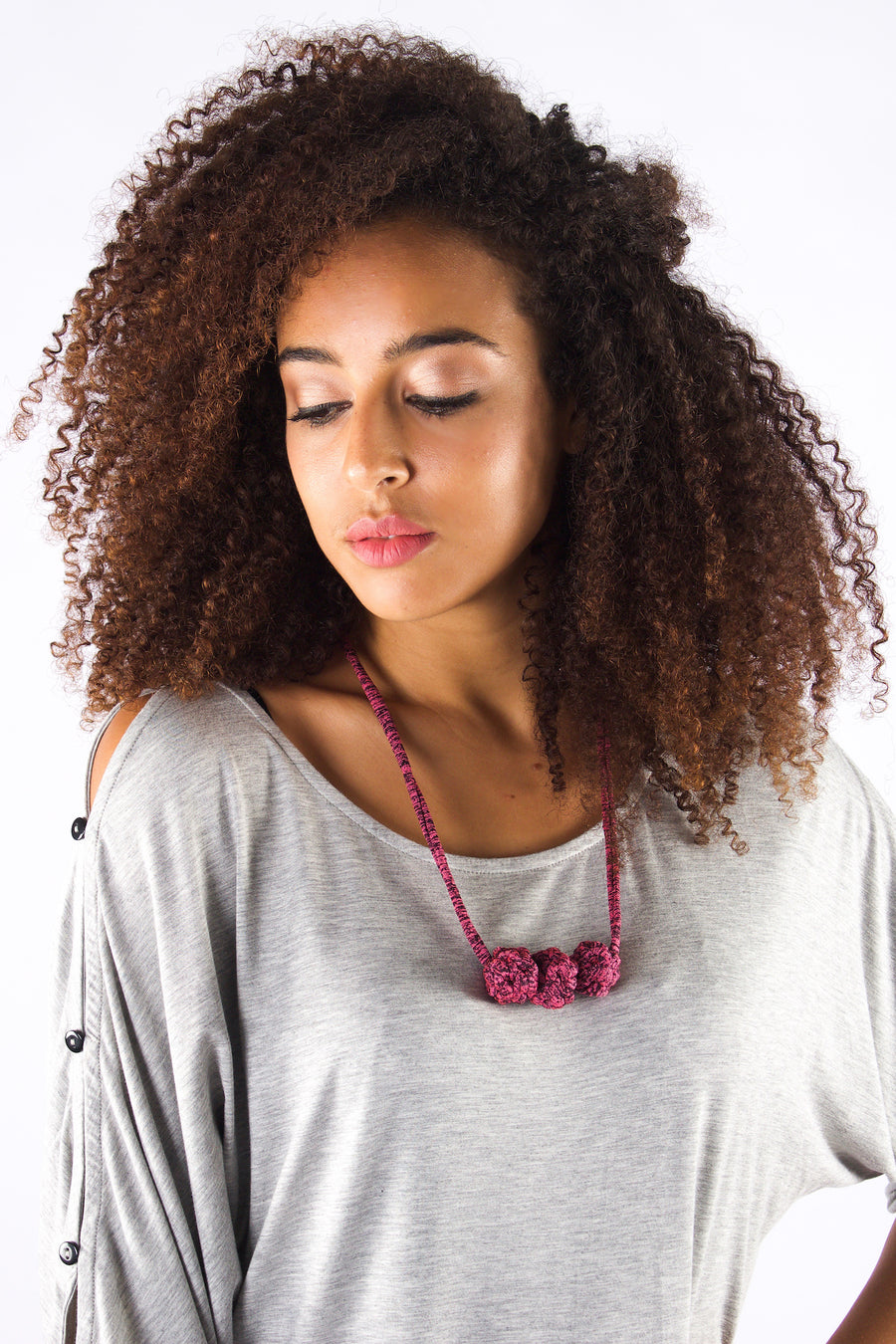 Taikensonzai upcycled jersey yarn Zabrina necklace, exclusively on ZERRIN