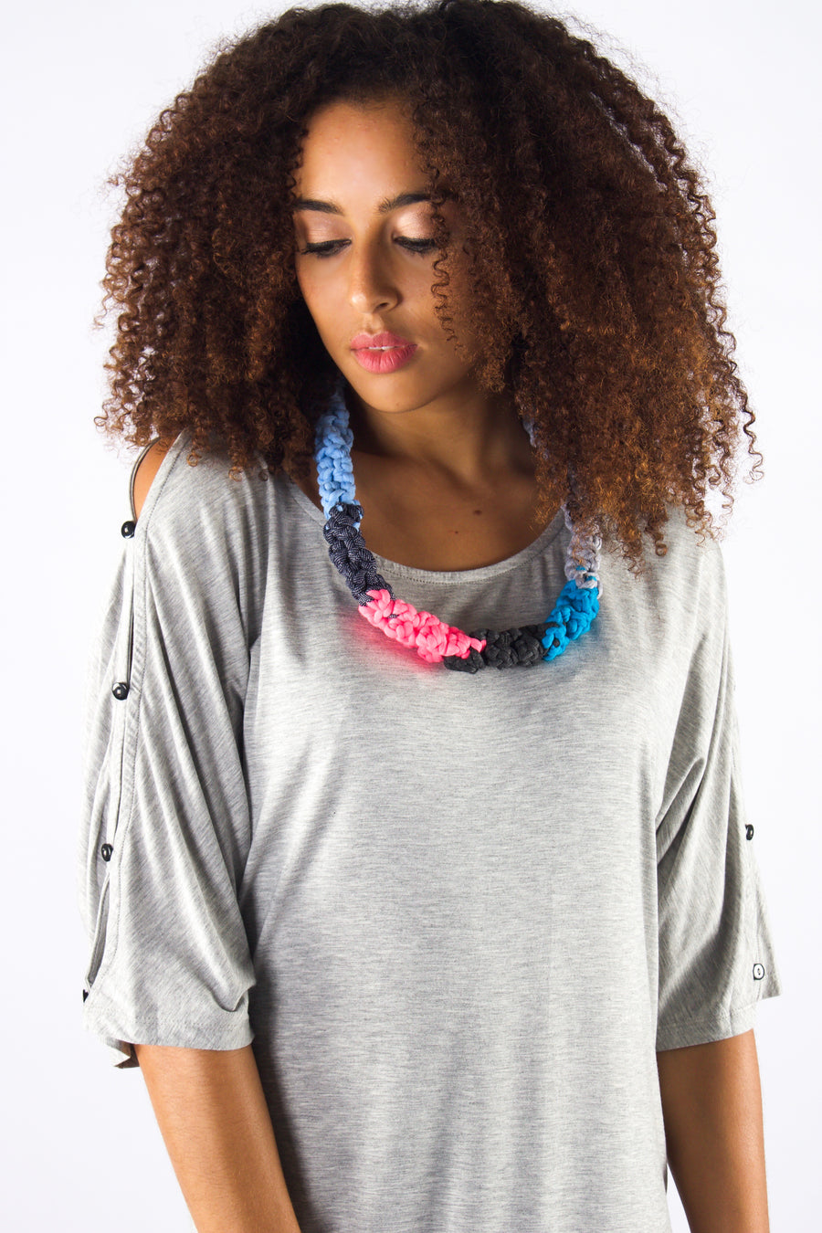Taikensonzai upcycled yarn Zainara necklace, available exclusively on ZERRIN