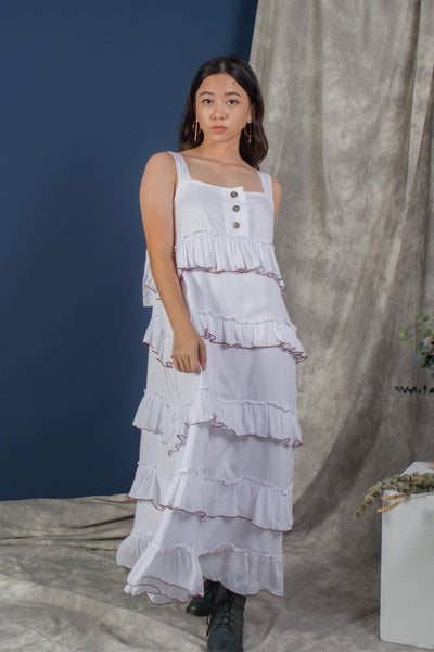 Whispers & Anarchy Ruffles Maxi Dress in White