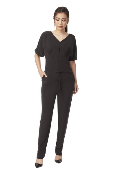 Deploy Silk Jumpsuit w/ Draw-String Waist in Black, available in ZERRIN