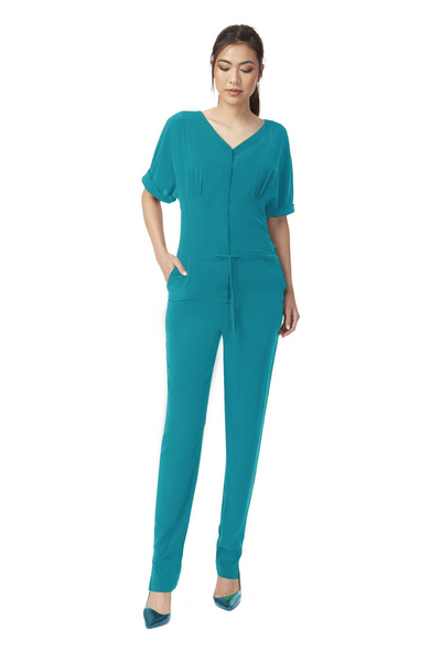 Deploy Silk Jumpsuit w/ Draw-String Waist in Turquoise, available in ZERRIN