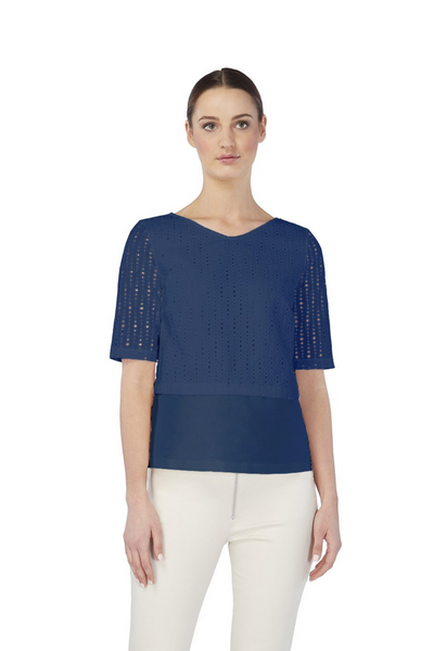 Deploy A-Line Short-Sleeves Cotton Top in Insignia Blue, available in ZERRIN