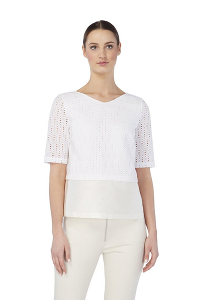 Deploy A-Line Short-Sleeves Cotton Top in Ivory, available in ZERRIN