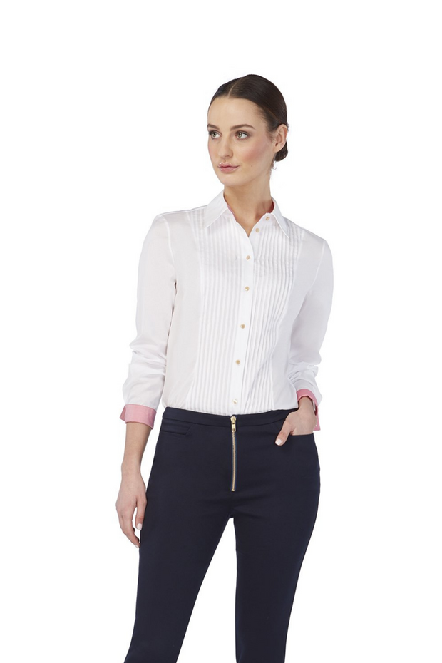 Deploy Pin-tuck Button-Down Cotton Shirt in White, available in ZERRIN
