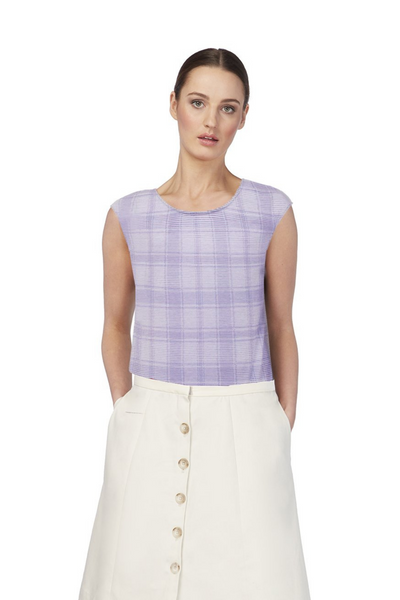 Deploy Reversible Cotton Jersey Top in Navy/Lilac Mix, available in ZERRIN