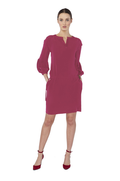 Deploy 2-Way Draw-String Silk Shift in Cerise, available in ZERRIN