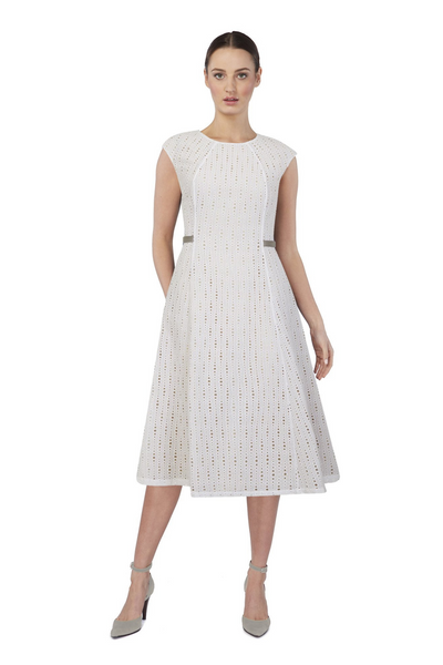 Deploy A-Line Cotton Midi Dress in Ivory, available in ZERRIN