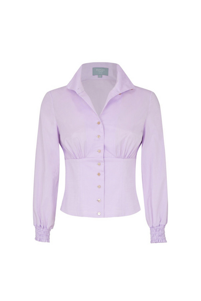 Deploy High-Collar Fitted-Waist Shirt w/ Ruche Cuffs in Lavender, available in ZERRIN