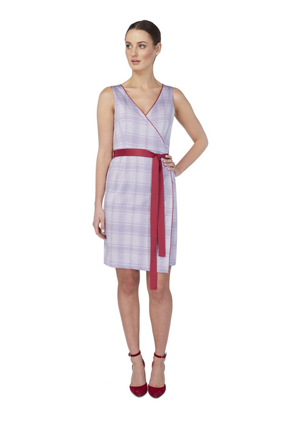 Deploy Reversible Sleeveless Jersey Wrap Dress in Navy/Lilac Mix, available in ZERRIN