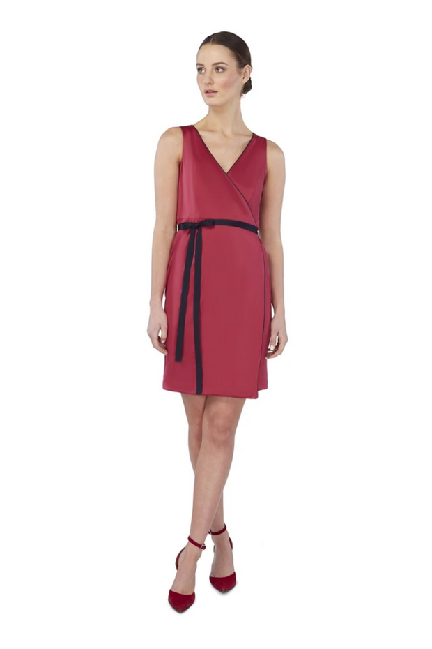 Deploy Reversible Sleeveless Jersey Wrap Dress in Red/Navy Mix, available in ZERRIN