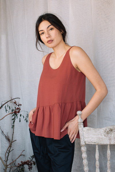 Asymmetrical Tank Top in Terracotta, available at ZERRIN