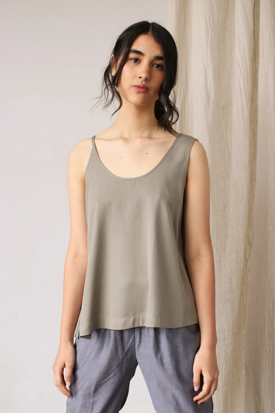 Esse Top with Asymmetrical Straps in Olive, available in ZERRIN
