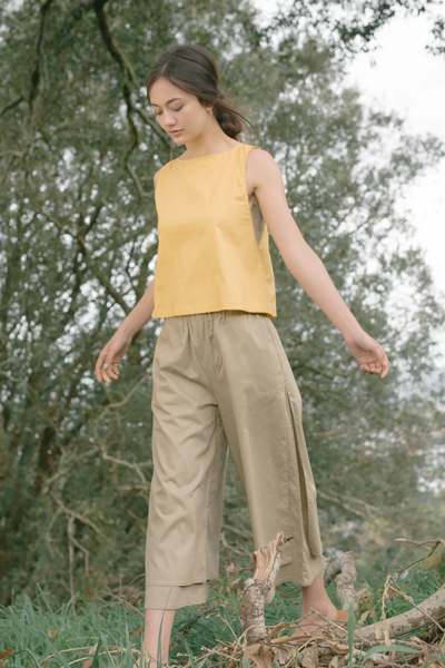 Esse Organic Cotton Double Layered Pants in Olive, available in ZERRIN