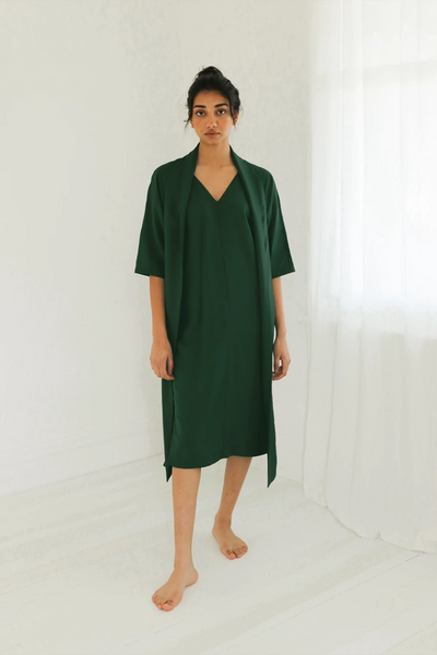 Esse Dress with Neck Sash in Forest, available in ZERRIN
