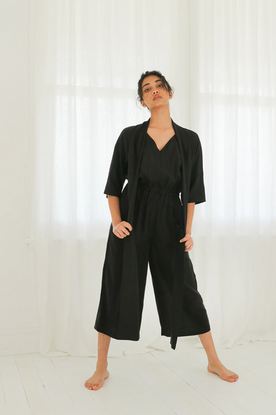 Esse Jumpsuit with Neck Sash in Black, available in ZERRIN