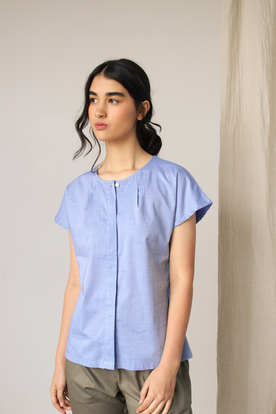 Esse Organic Cotton Top with Double Back Yoke in Pacific Blue, available in ZERRIN