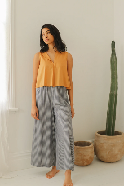 Esse Organic Cotton Wide Leg Pants in Indigo Stripe, available in ZERRIN