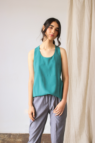 Esse Tie-Back Halter Top in Isle Green, available in ZERRIN