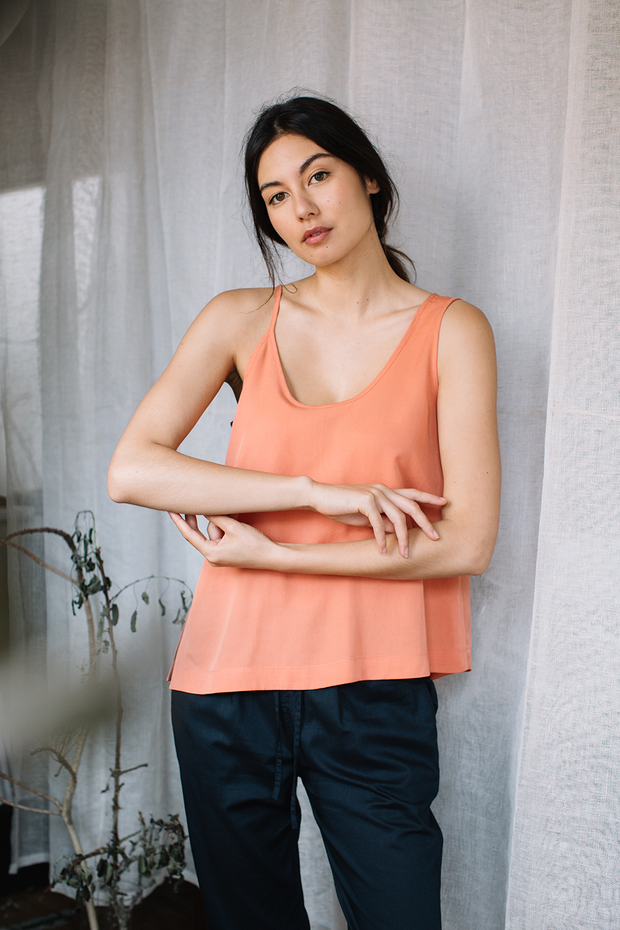 Top with Asymmetrical Straps in Sunkissed Coral available at ZERRIN
