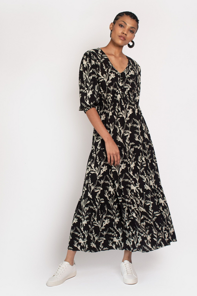 Hide the Label Kalmia Maxi in Black & White Sketch Floral, available in ZERRIN