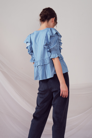 Lily & Lou Kirby Top in Blue, available in ZERRIN
