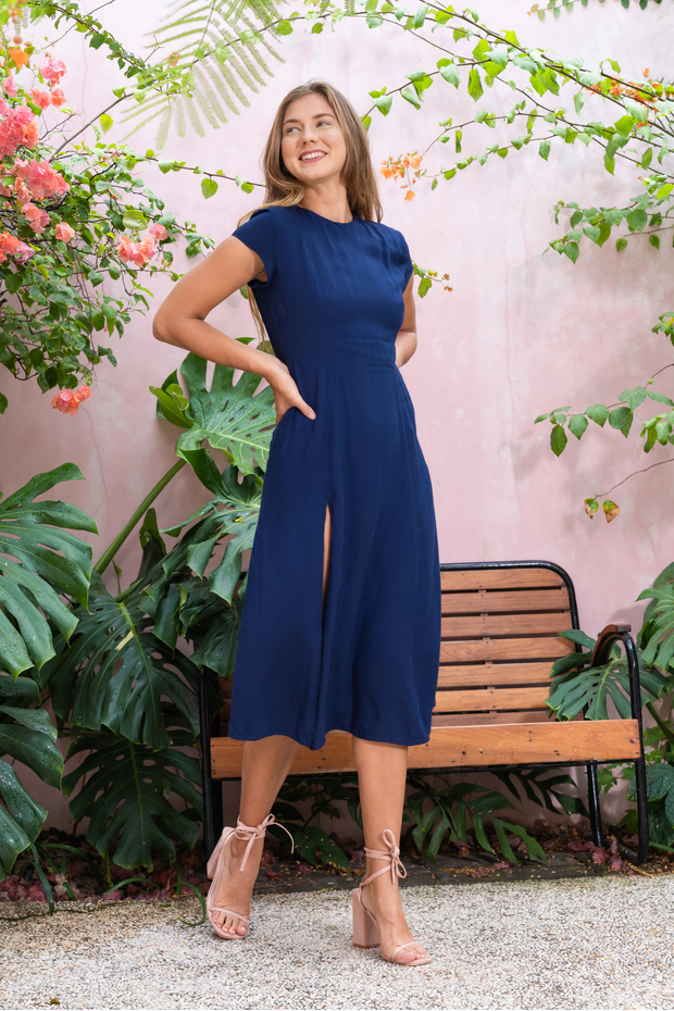 Lily & Lou Rachel Dress in Navy, available in ZERRIN