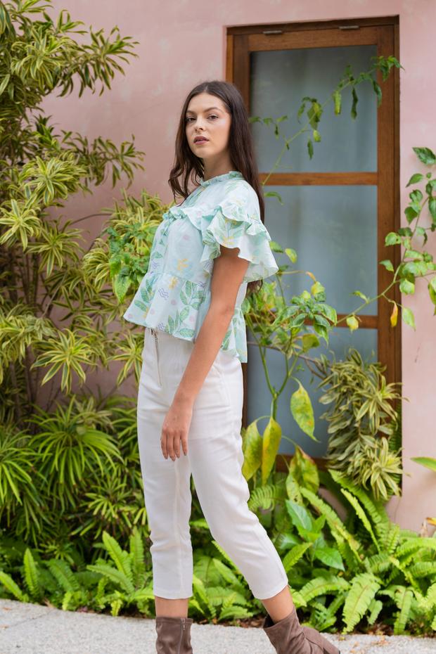 Lily & Lou Ulla Blouse in Leafy, available in ZERRIN