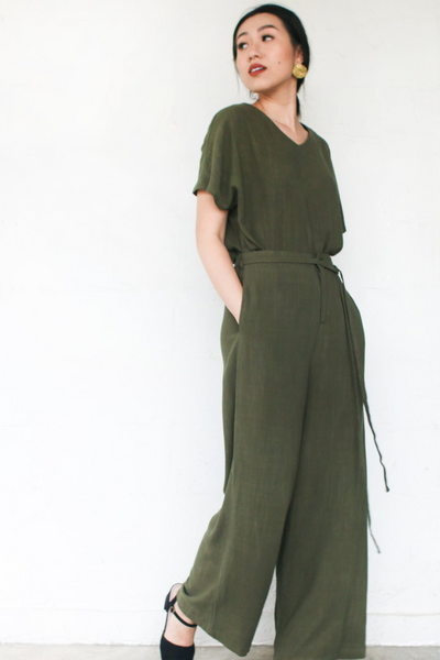 Freedom Pants in Olive by Paradigm Shift, available at ZERRIN.