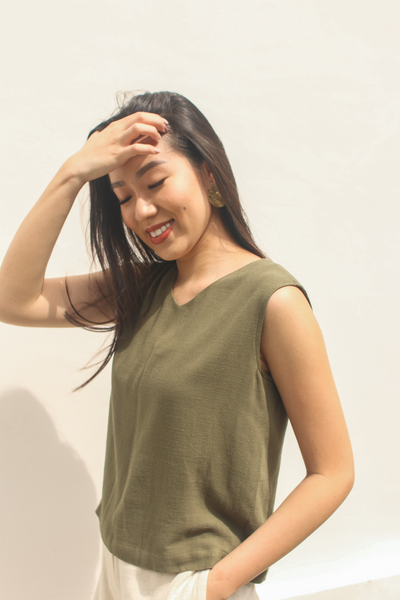 Grace Top in Olive by Paradigm Shift, available at ZERRIN