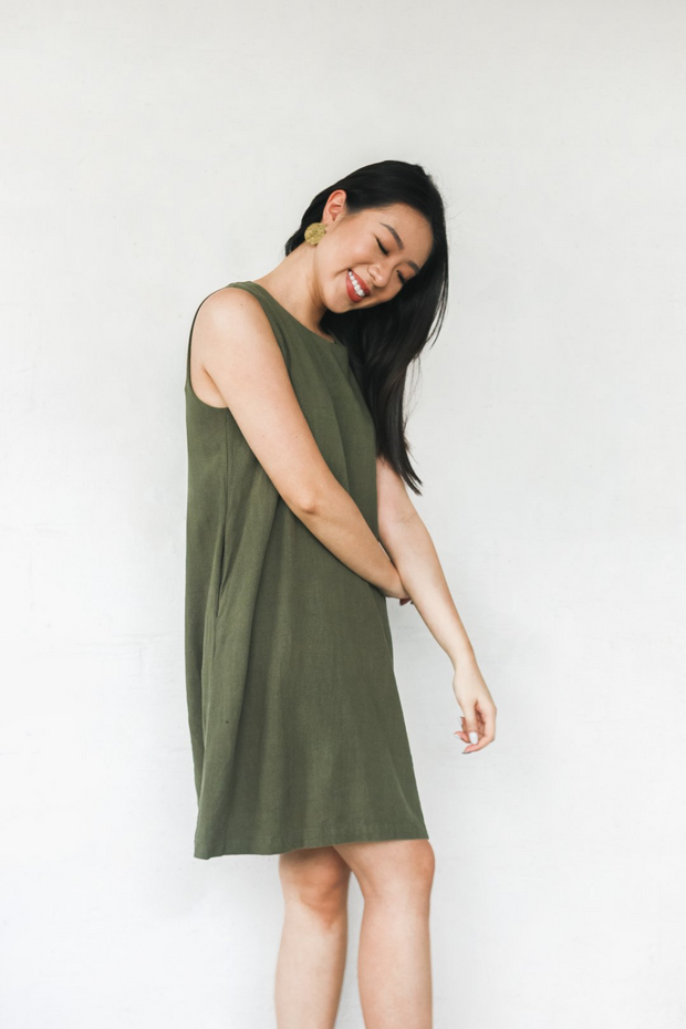 Redeemed Dress by Paradigm Shift in Olive, available at ZERRIN
