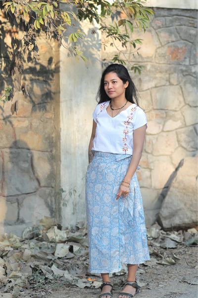 Wray Crafted Misha Wrap Skirt in Blue, available in ZERRIN
