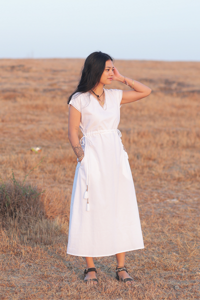 Wray Crafted Organic Samara Dress in White, available in ZERRIN