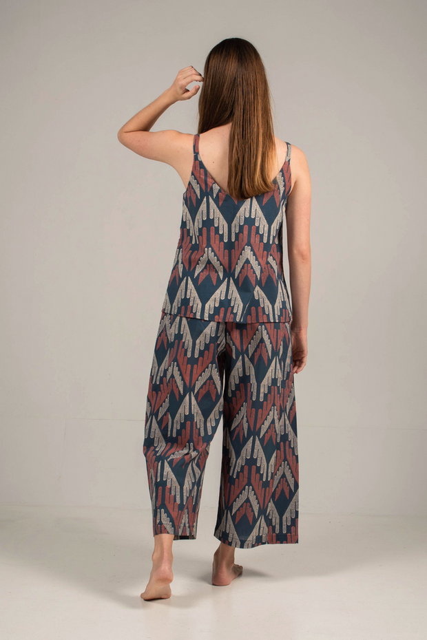 Nost Kai Flare Pants in Facade Navy, available in ZERRIN