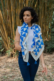 Maisha Concept Dupatta Scarf in Blue Triangle