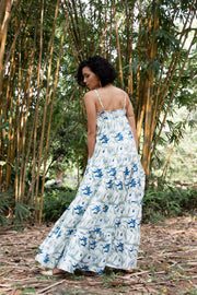 Back view of Maisha Concept Patte Tropical Green Tiered Maxi Dress