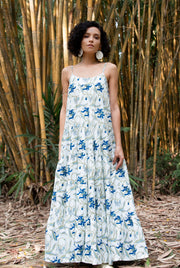 Woman wearing Maisha Concept Patte Tropical Green Tiered Maxi Dress
